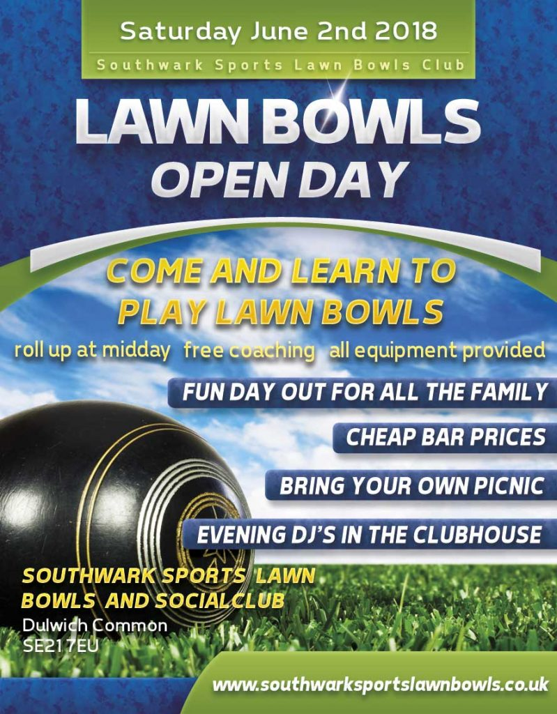 Photo image of a poster advertising the lawn bowls open day at Southwark Sports Lawn Bowls Club